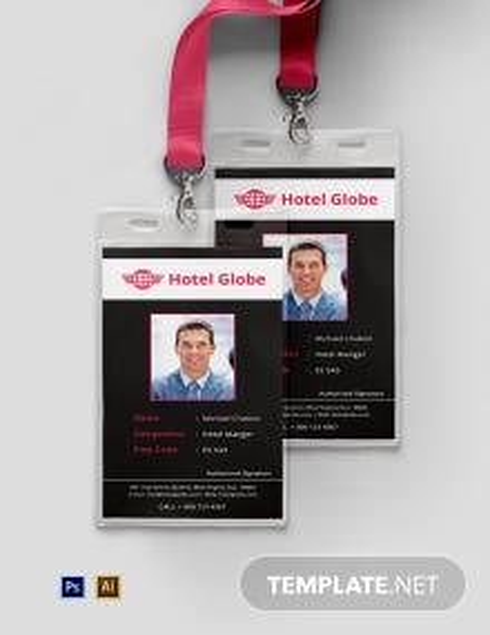 Free Modern Hotel ID Card Template