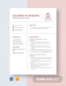 Geriatric Nurse Practitioner Resume Template