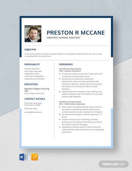 Geriatric Nursing Assistant Resume Template