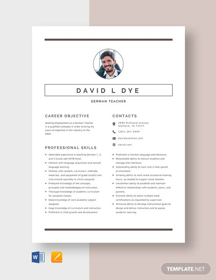 German Teacher Resume Template