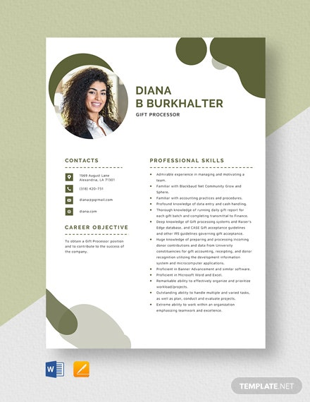 Gift Processor Resume Template
