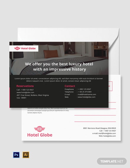 Free Modern Hotel Postcard Template