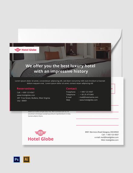 Free Modern Hotel Postcard Template