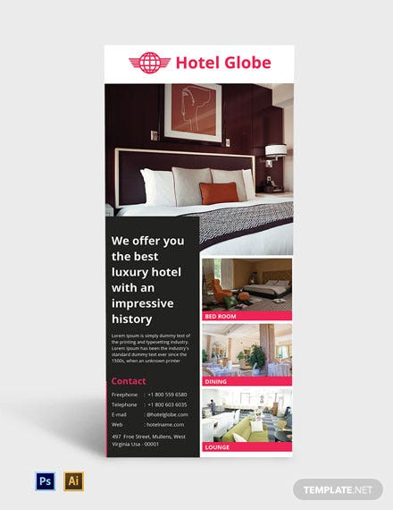Modern Hotel Rack Card Template