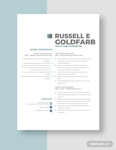 Health Care Coordinator Resume Template