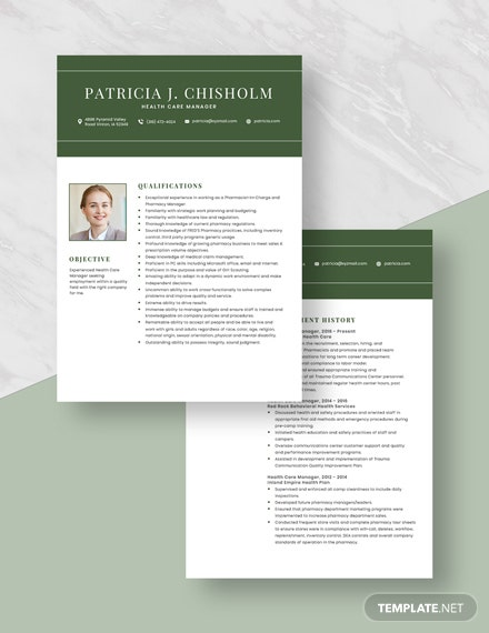 Health Care Manager Resume Download
