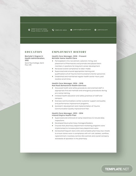 Health Care Manager Resume Template