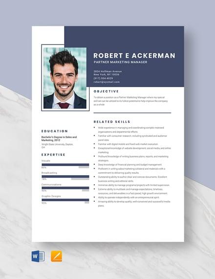 Partner Marketing Manager Resume Template