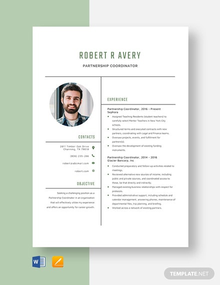 Partnership Coordinator Resume Template