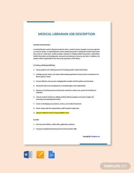 Free Medical Librarian Job Ad/Description Template