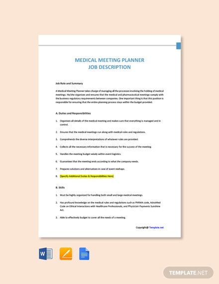 Free Medical Meeting Planner Job Ad/Description Template