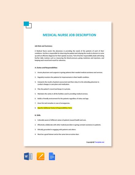 Free Medical Nurse Job Ad/Description Template