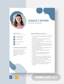 Packaging Technologist Resume Template