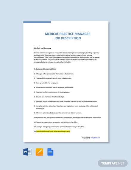 Free Medical Practice Manager Job Ad/Description Template