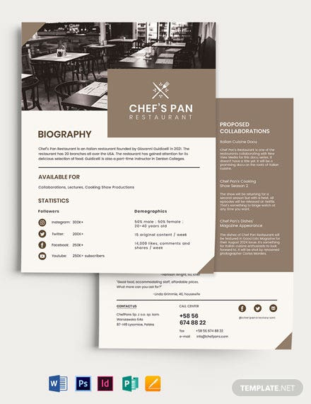 Restaurant Media Kit Template