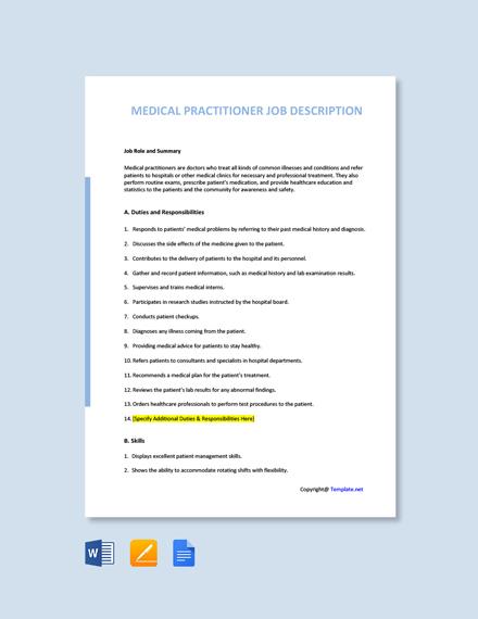 Free Medical Practitioner Job Description Template