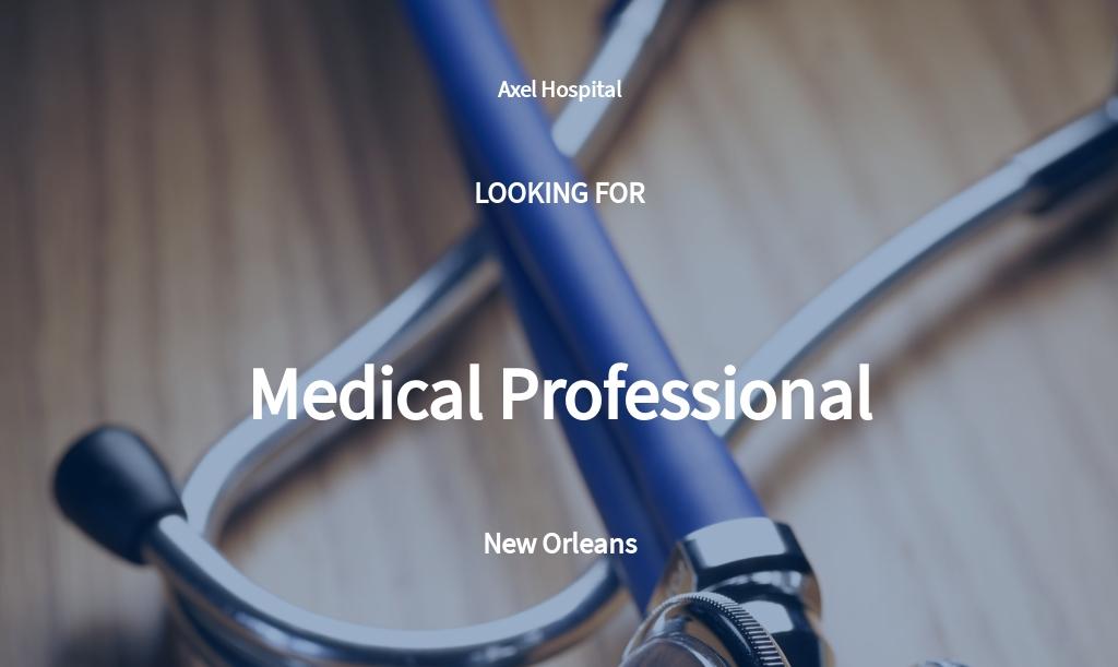 Medical Professional Job Description Template