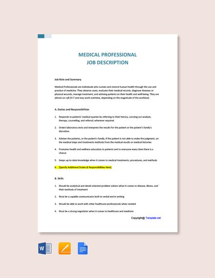 Free Medical Professional Job Description Template