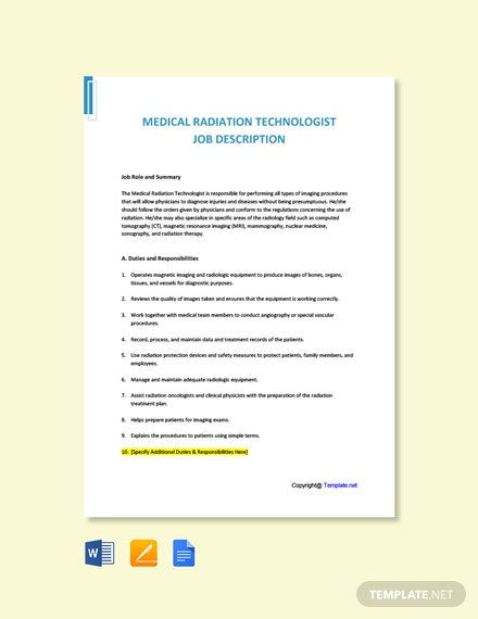 Free Medical Radiation Technologist Job Description Template