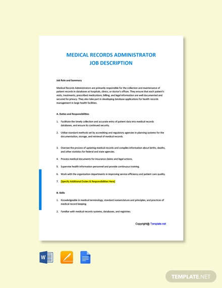 Free Medical Records Administrator Job Description Template
