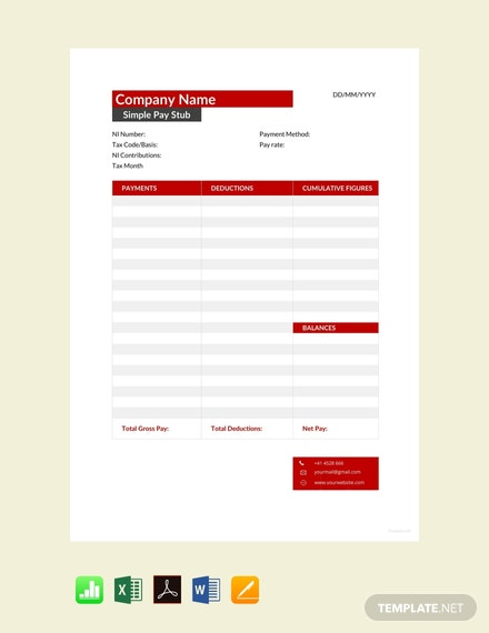 Free Simple Pay Stub Template