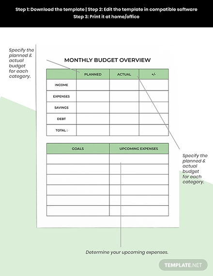 Personal Budget Planner Template instruction