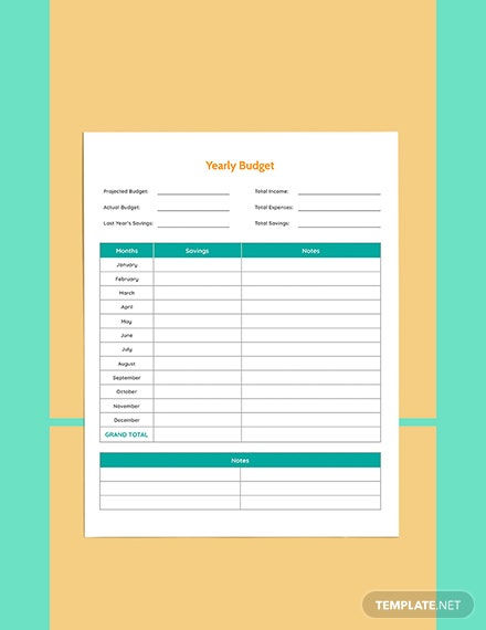 Yearly Budget Planner template Format