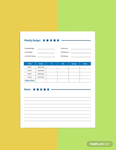 Weekly  Budget Planner template Format