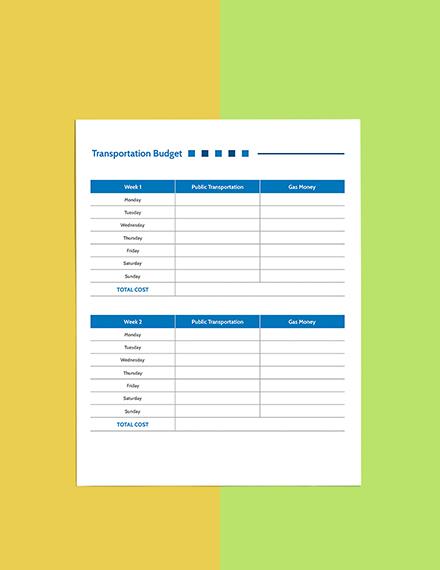 Weekly  Budget Planner template Sample