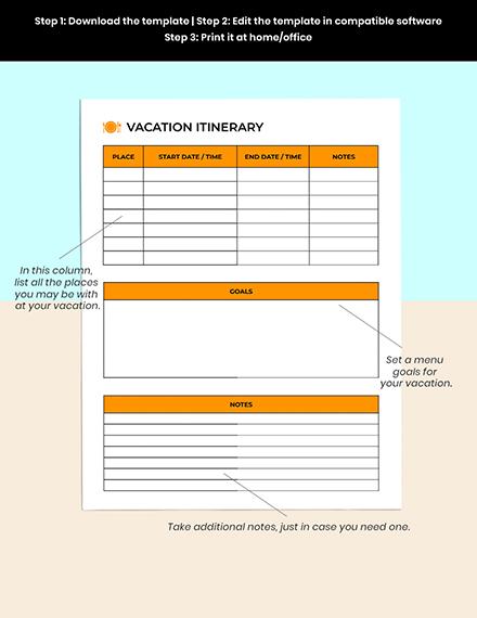 Vacation  Menu Planner Editable