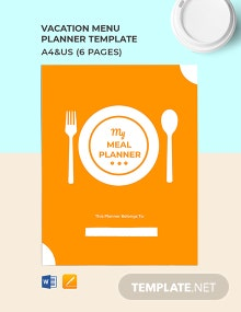 Vacation Menu Planner Template