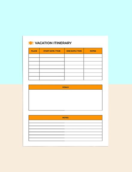 Vacation  Menu Planner Sample