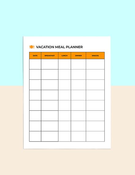 Vacation  Menu Planner download