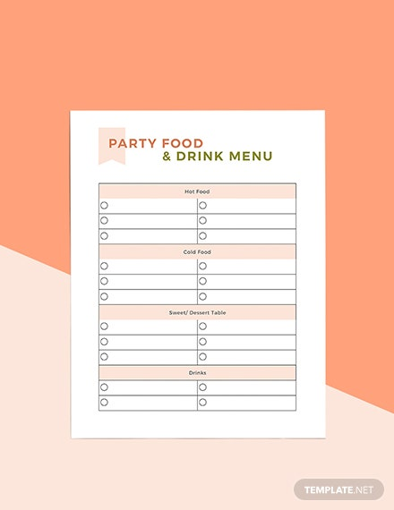 Sample Party Menu Planner Example