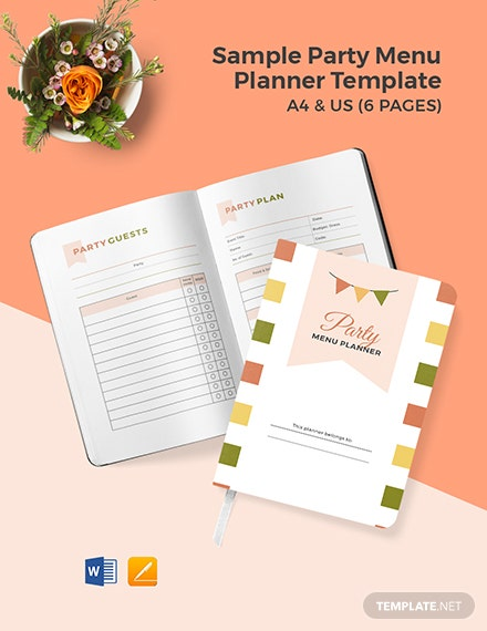 Free Sample Party Menu Planner Template