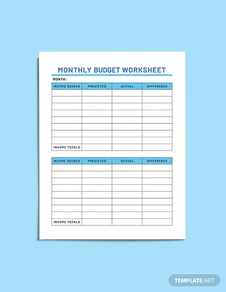Sample Household Budget Planner example