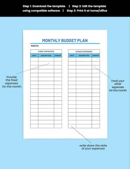 editable Sample Household Budget Planner