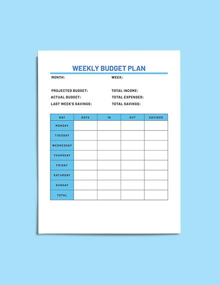 sample Sample Household Budget Planner