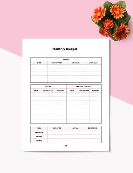 Sample Printable Budget Planner