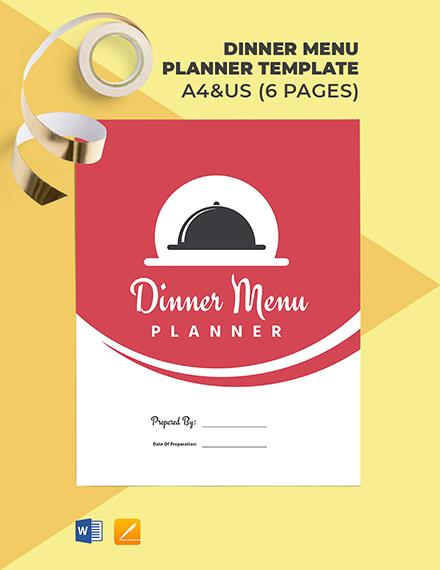 Dinner Menu Planner Template