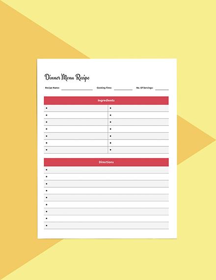 Dinner menu planner template Example