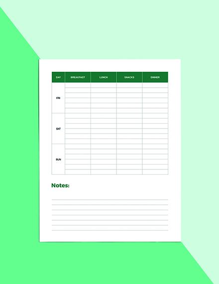 Christmas Menu Planner Template Editable