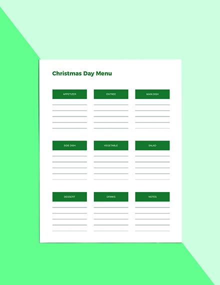 Christmas Menu Planner Template Format