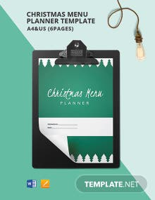 Christmas Menu Planner Template
