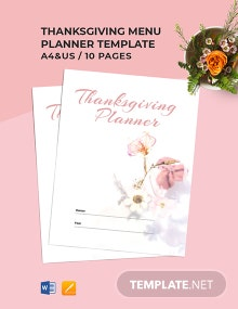 Thanksgiving Menu Planner Template