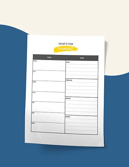 Daily Menu Planner Editable