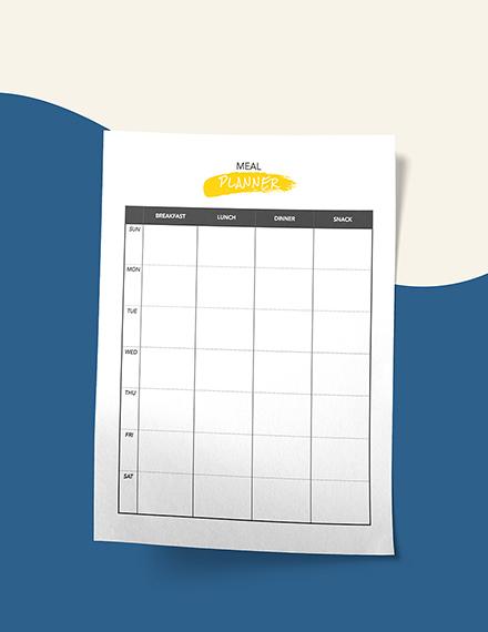 Daily Menu Planner Printable