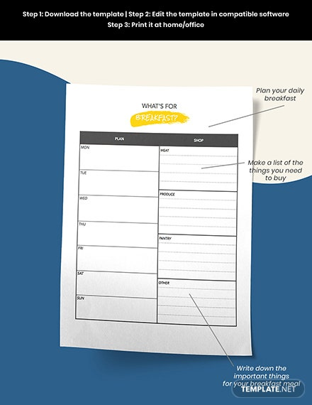 Daily Menu Planner Template