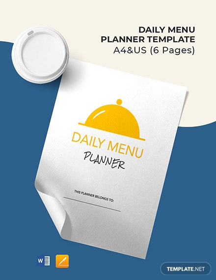 Daily Menu Planner Template