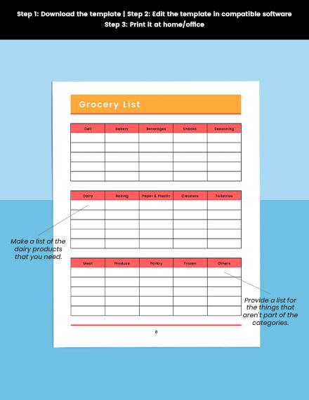 Monthly menu planner Editable